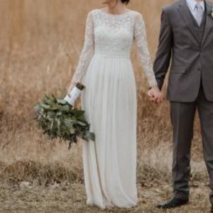 BHLDN Sinclair Long sleeve beaded wedding Dress
